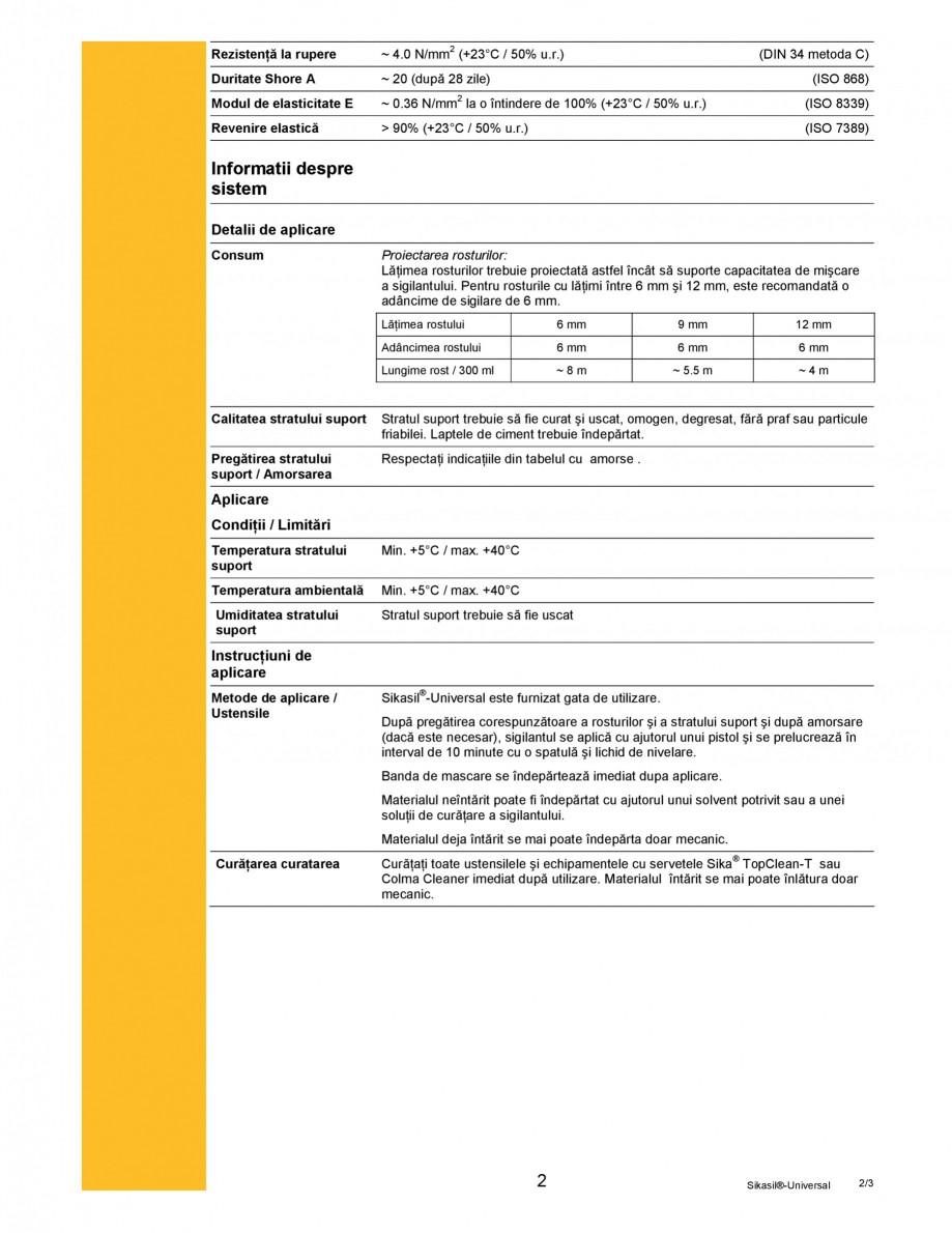 Pagina 2 - Sigilant siliconic cu intarire acetoxi SIKA Sikasil®-Universal Fisa tehnica Romana...