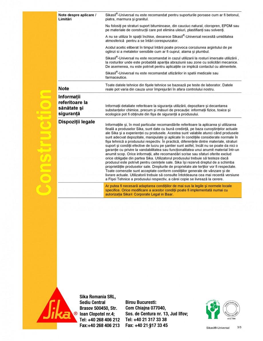 Pagina 3 - Sigilant siliconic cu intarire acetoxi SIKA Sikasil®-Universal Fisa tehnica Romana...