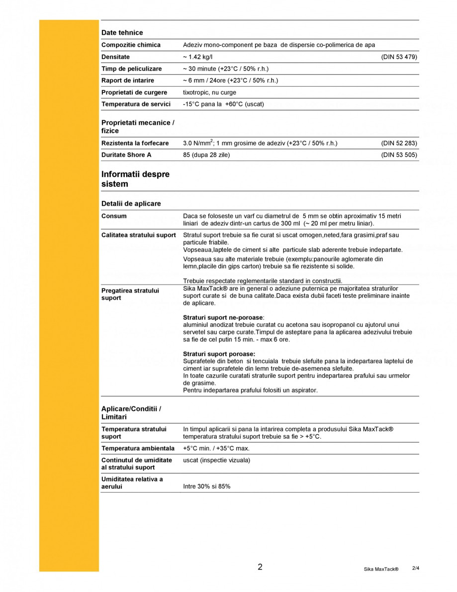 Pagina 2 - Adeziv mono-component cu rezistenta ridicata SIKA Sika MaxTack® Fisa tehnica Romana  ...