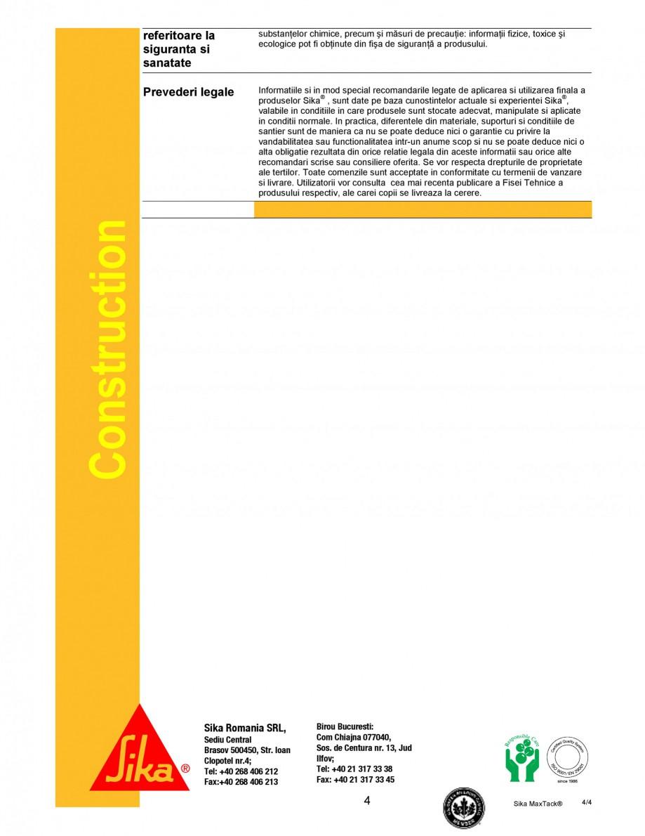 Pagina 4 - Adeziv mono-component cu rezistenta ridicata SIKA Sika MaxTack® Fisa tehnica Romana...