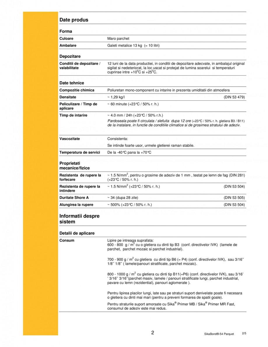 Pagina 2 - Adeziv elastic pentru lipirea pardoselilor din lemn SIKA SikaBond®-T54 FC Fisa...