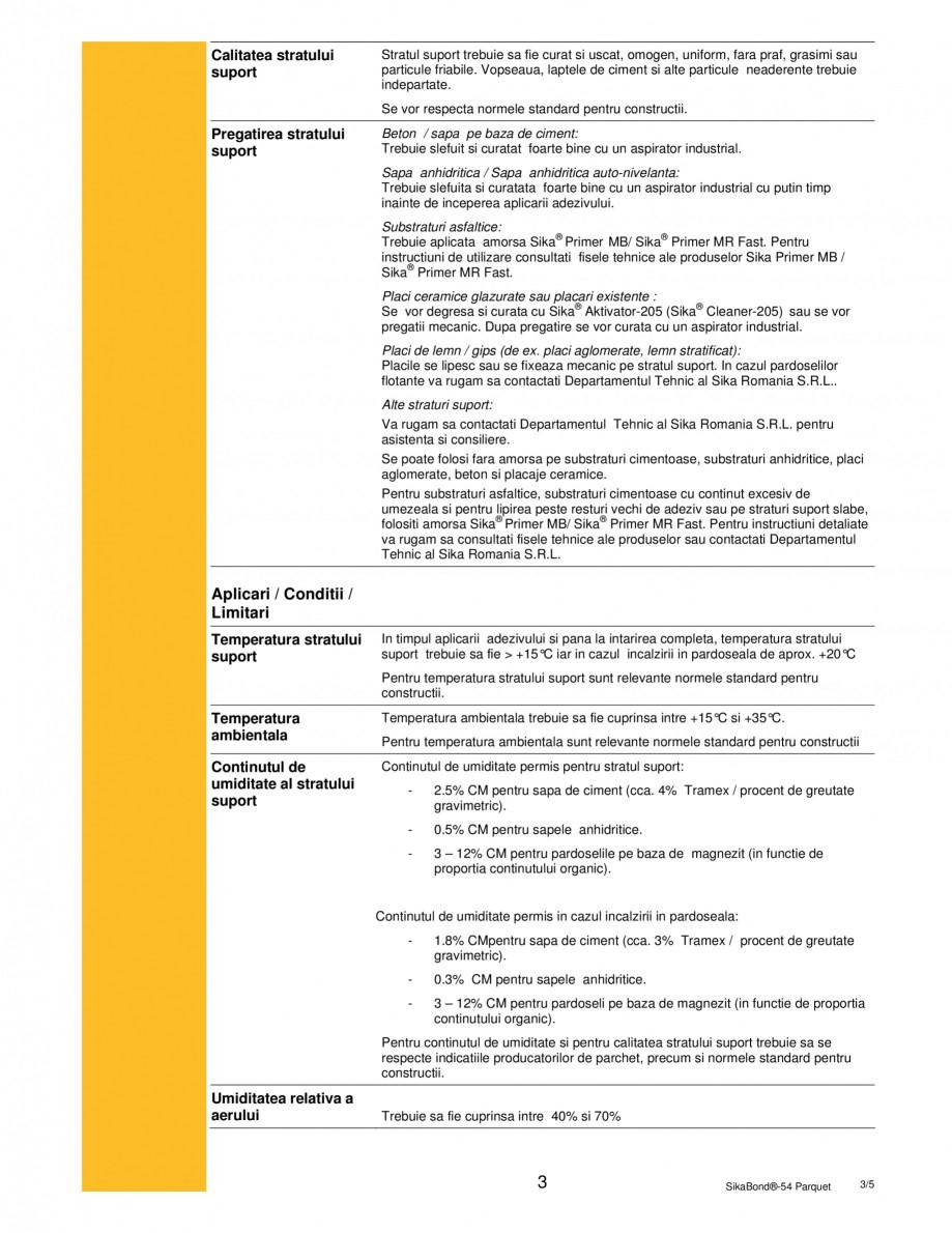 Pagina 3 - Adeziv elastic pentru lipirea pardoselilor din lemn SIKA SikaBond®-T54 FC Fisa...