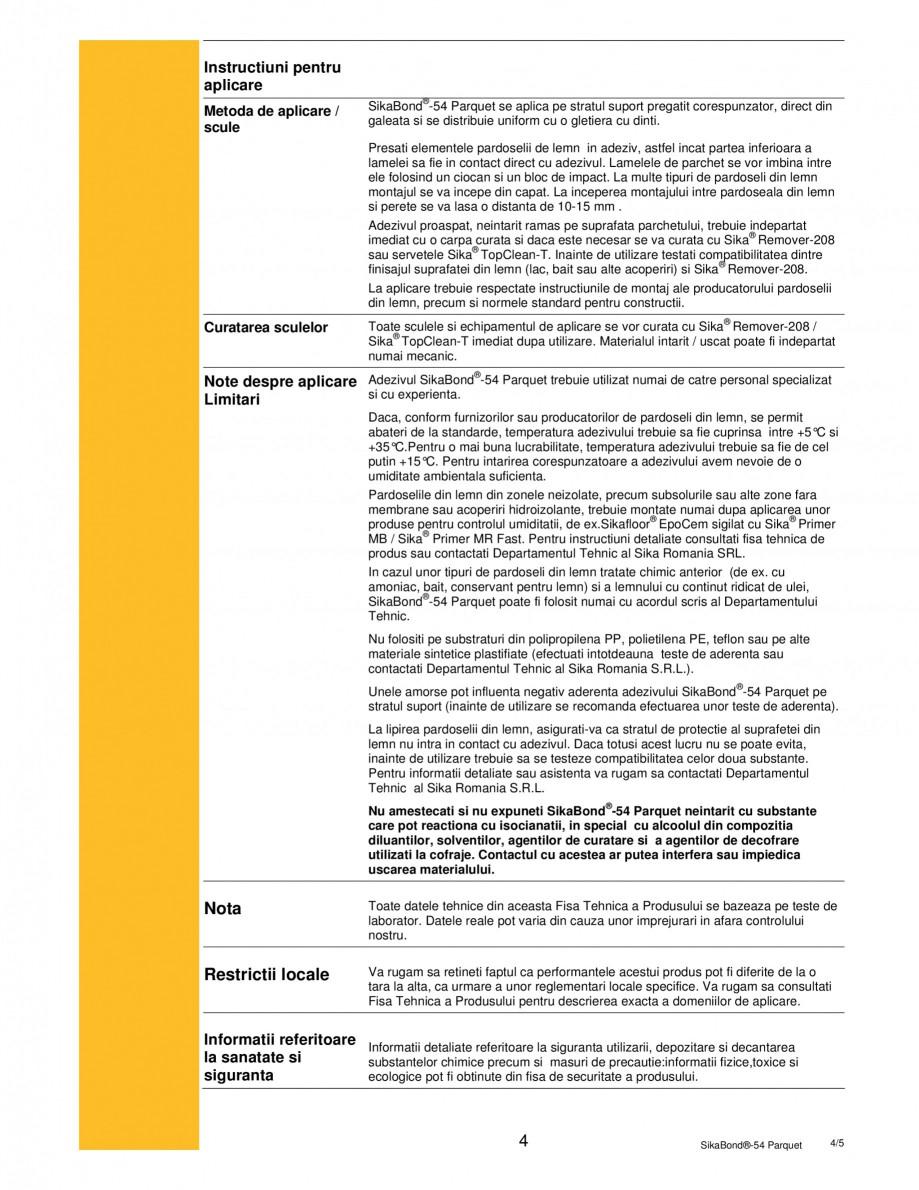 Pagina 4 - Adeziv elastic pentru lipirea pardoselilor din lemn SIKA SikaBond®-T54 FC Fisa...