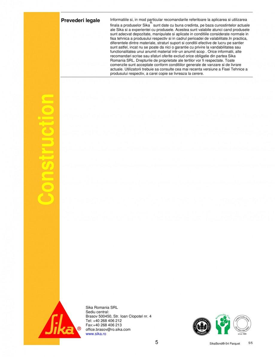 Pagina 5 - Adeziv elastic pentru lipirea pardoselilor din lemn SIKA SikaBond®-T54 FC Fisa...