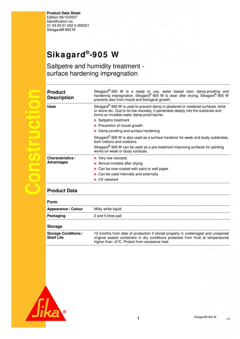 Pagina 1 - Tratament pentru pardoseli interioare si exterioare SIKA Sikagard®-905W Fisa tehnica ...