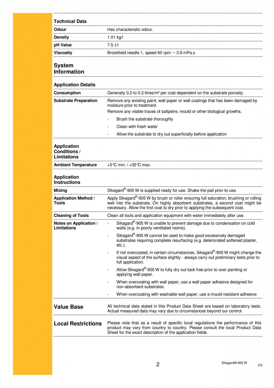 Pagina 2 - Tratament pentru pardoseli interioare si exterioare SIKA Sikagard®-905W Fisa tehnica ...