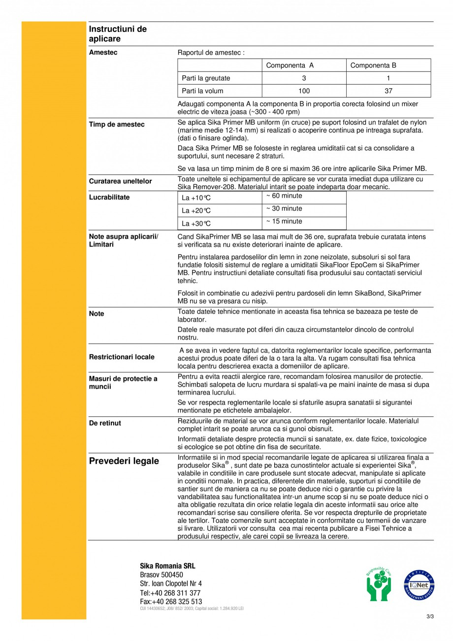 Pagina 3 - Amorsa pentru reglarea umiditatii SIKA Sika® Primer MB Fisa tehnica Engleza Dozaj ...