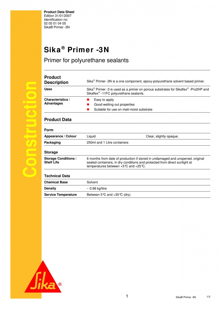 Pagina 1 - Primer monocomponent pe baza de rasini epoxi-poliuretanice SIKA Sika® Primer-3N Fisa ...