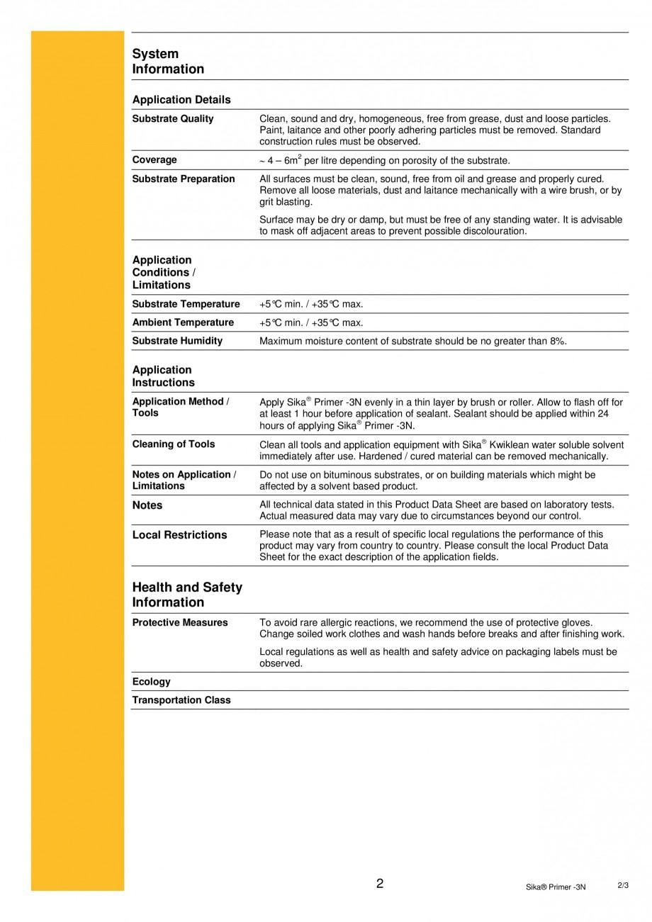 Pagina 2 - Primer monocomponent pe baza de rasini epoxi-poliuretanice SIKA Sika® Primer-3N Fisa ...