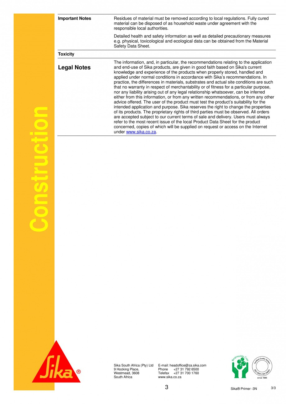Pagina 3 - Primer monocomponent pe baza de rasini epoxi-poliuretanice SIKA Sika® Primer-3N Fisa ...