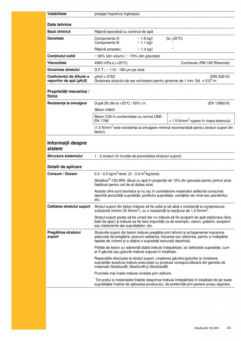 Pagina 2 - Amorsa epoxidica bicomponenta pe baza de apa SIKA Sikafloor®-155 WN Fisa tehnica...