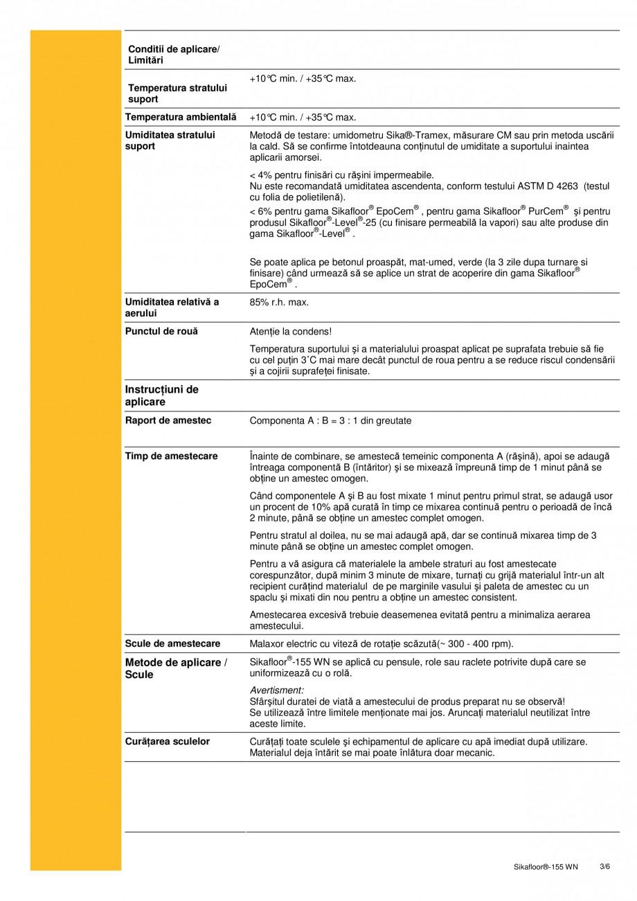 Pagina 3 - Amorsa epoxidica bicomponenta pe baza de apa SIKA Sikafloor®-155 WN Fisa tehnica...