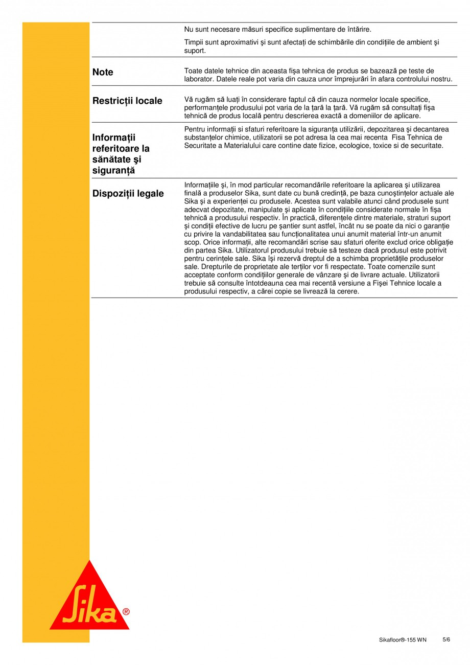Pagina 5 - Amorsa epoxidica bicomponenta pe baza de apa SIKA Sikafloor®-155 WN Fisa tehnica...