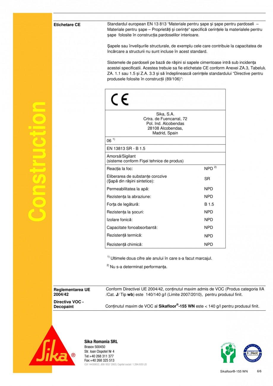 Pagina 6 - Amorsa epoxidica bicomponenta pe baza de apa SIKA Sikafloor®-155 WN Fisa tehnica...