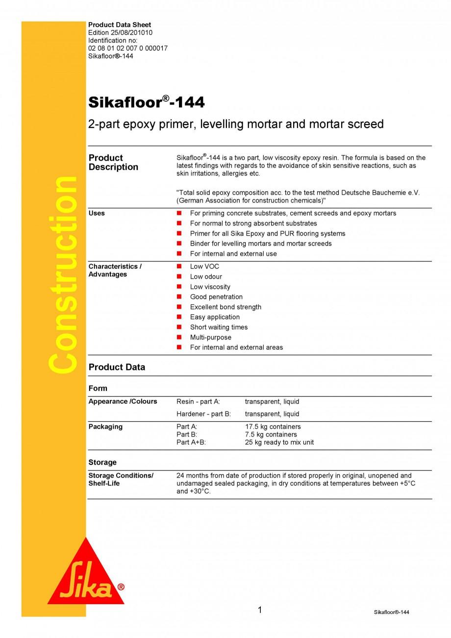 Pagina 1 - Amorsa epoxidica bicomponenta SIKA Sikafloor®-144 Fisa tehnica Engleza Product Data...