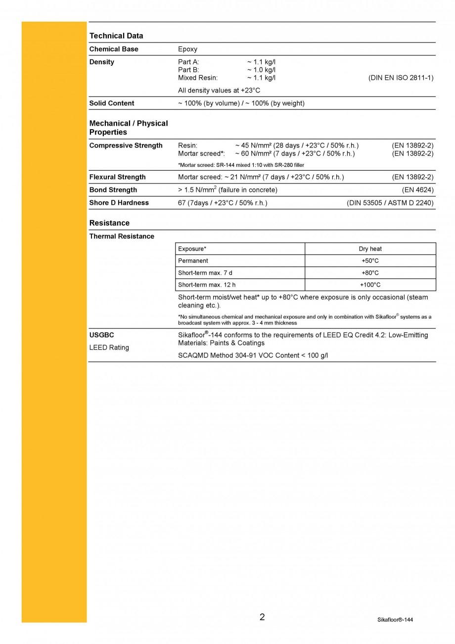 Pagina 2 - Amorsa epoxidica bicomponenta SIKA Sikafloor®-144 Fisa tehnica Engleza internal and...
