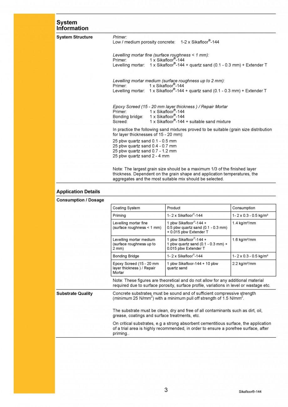 Pagina 3 - Amorsa epoxidica bicomponenta SIKA Sikafloor®-144 Fisa tehnica Engleza 3°C / 50% r.h...