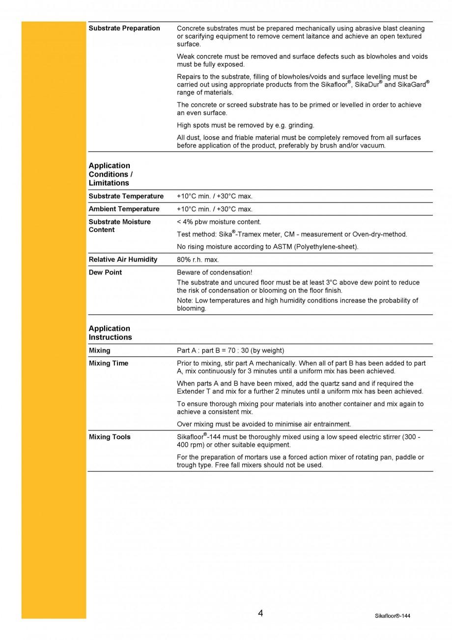 Pagina 4 - Amorsa epoxidica bicomponenta SIKA Sikafloor®-144 Fisa tehnica Engleza ) + Extender T...