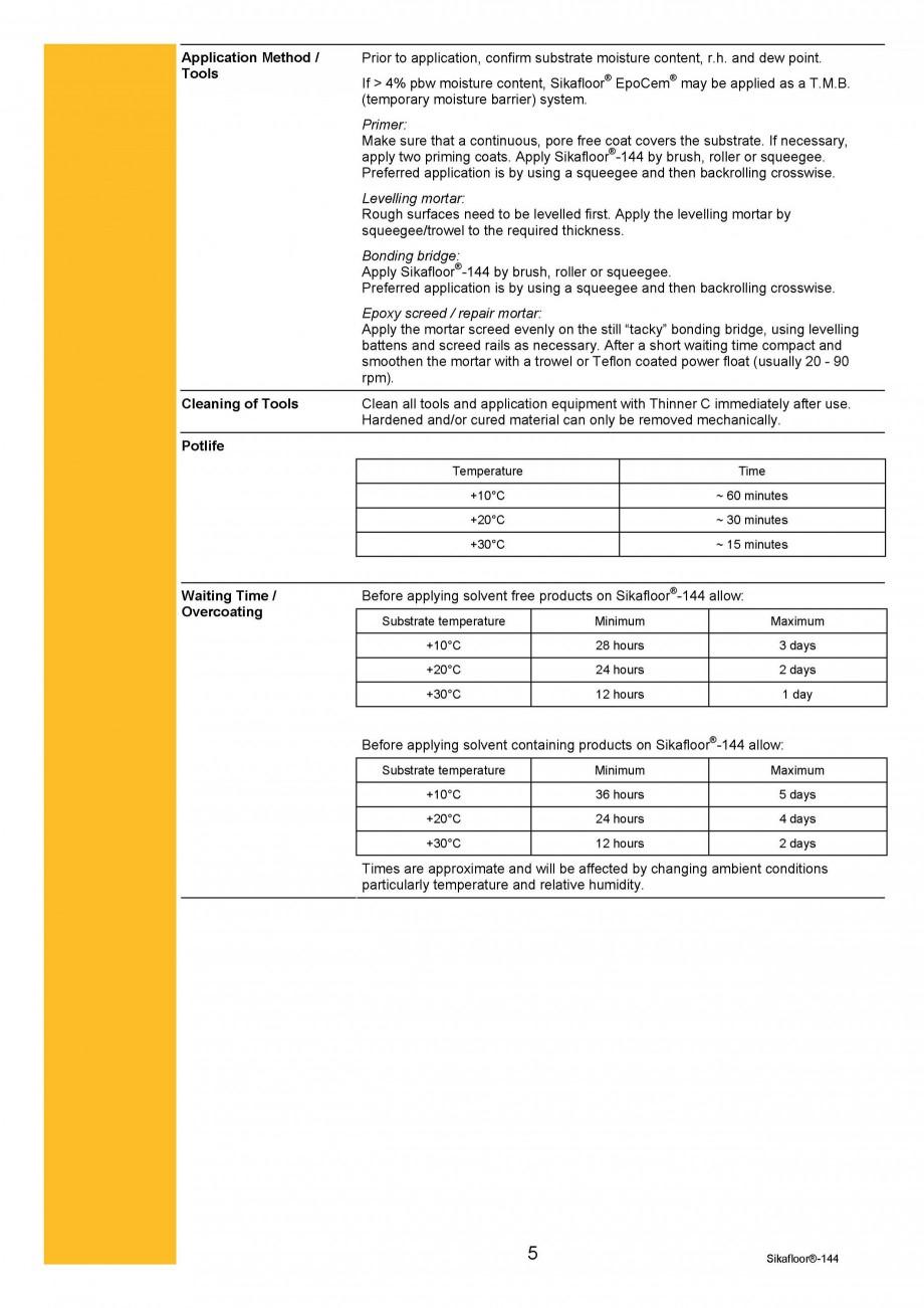 Pagina 5 - Amorsa epoxidica bicomponenta SIKA Sikafloor®-144 Fisa tehnica Engleza Levelling...