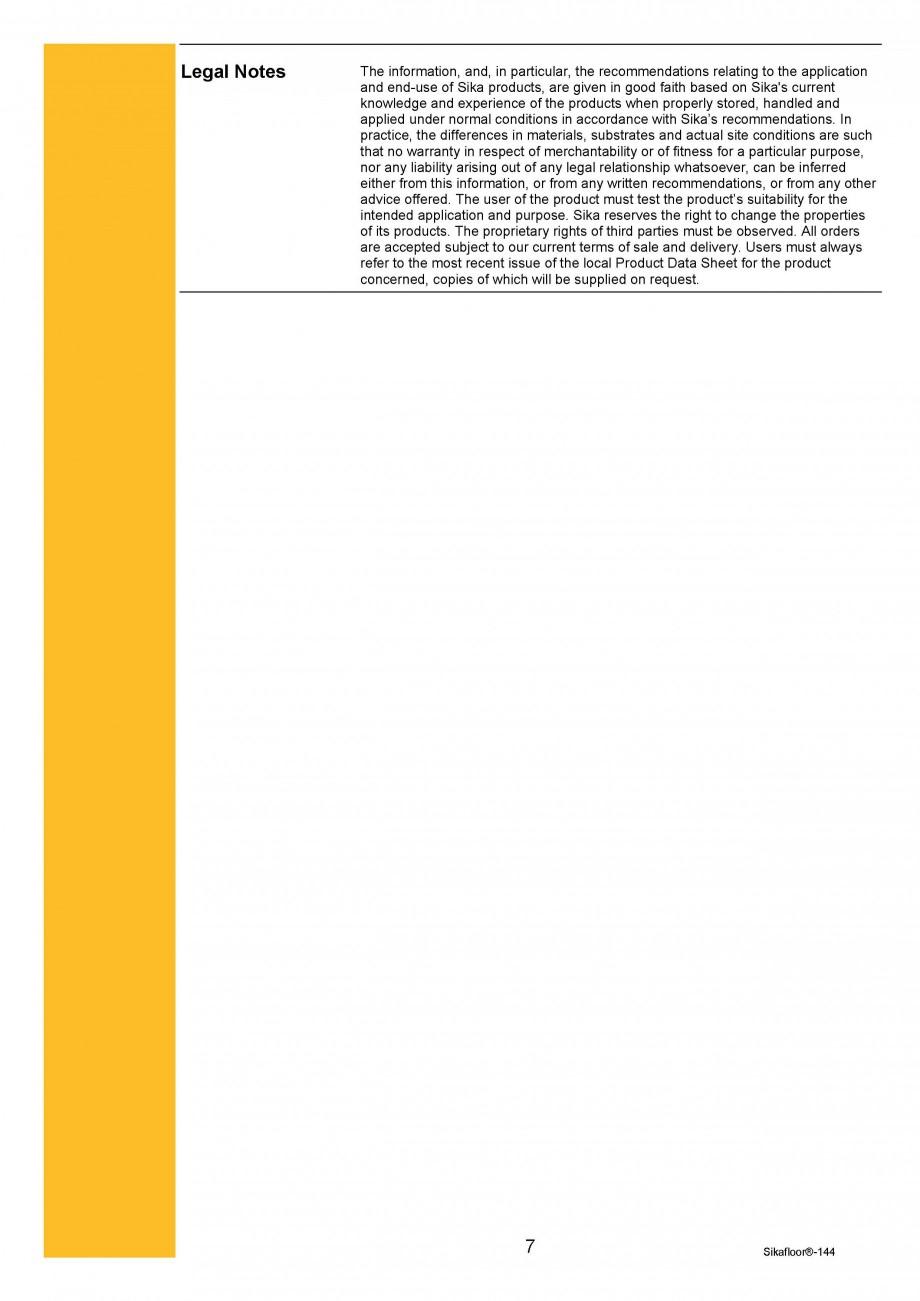 Pagina 7 - Amorsa epoxidica bicomponenta SIKA Sikafloor®-144 Fisa tehnica Engleza 0°C min. /...