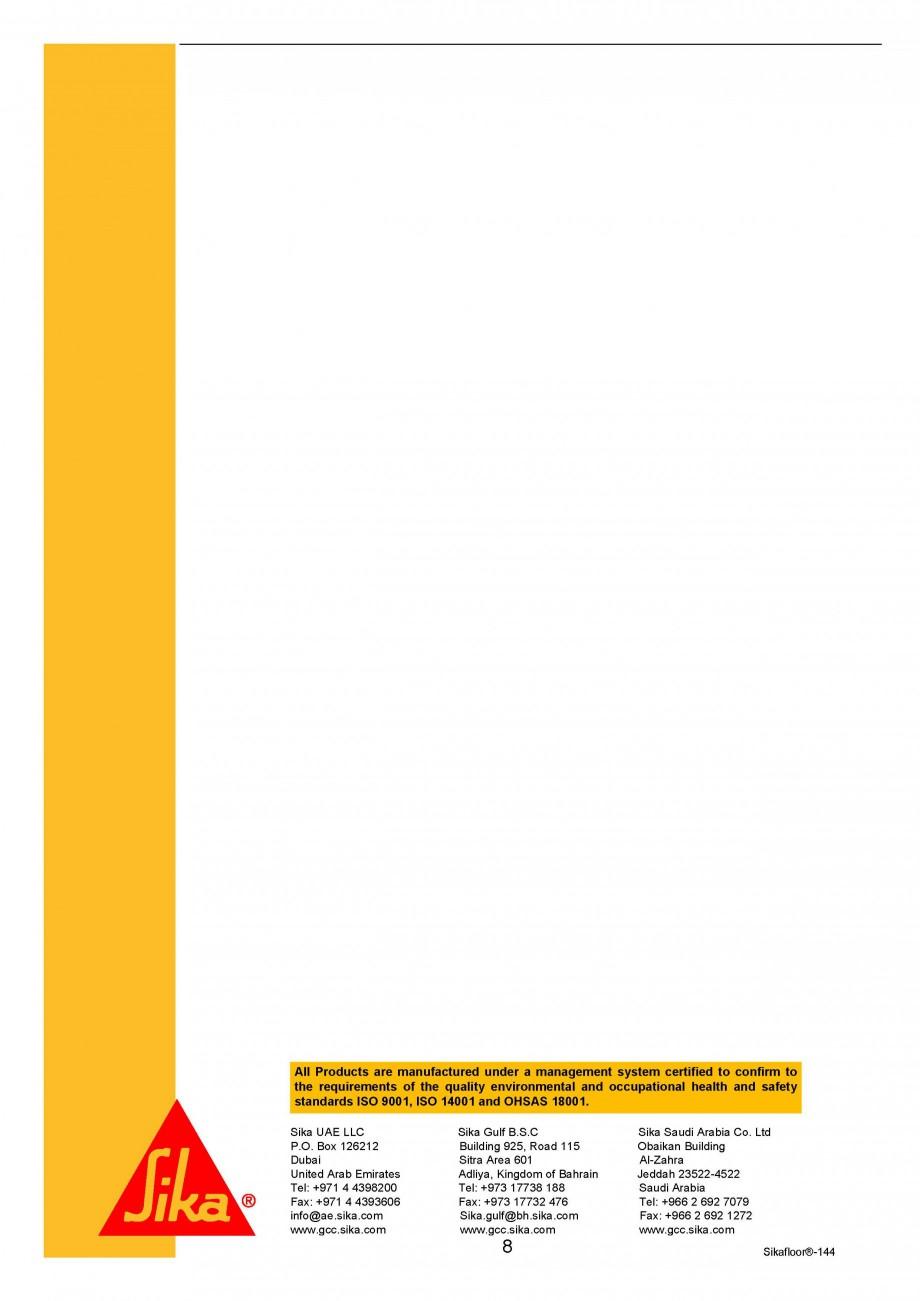 Pagina 8 - Amorsa epoxidica bicomponenta SIKA Sikafloor®-144 Fisa tehnica Engleza ve a...