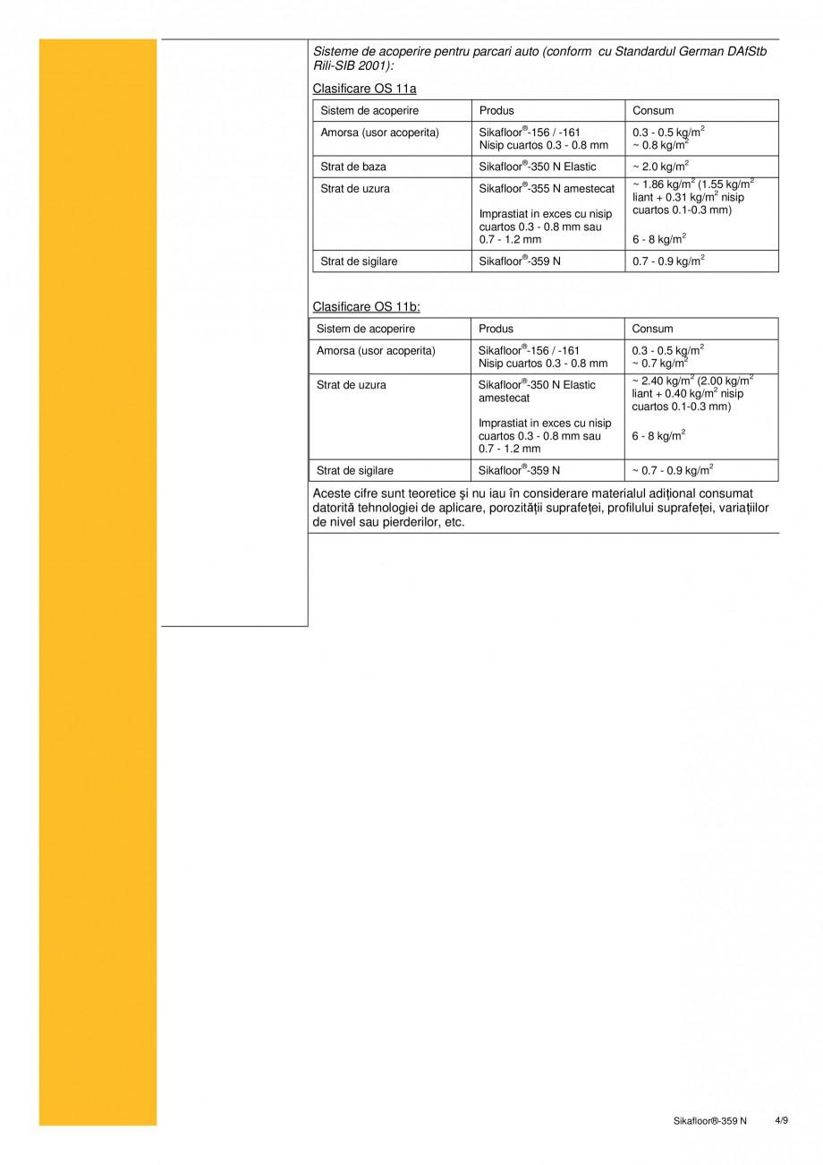 Pagina 4 - Strat de sigilare poliuretanic SIKA Sikafloor®-359 N Fisa tehnica Romana � Expunere* ...