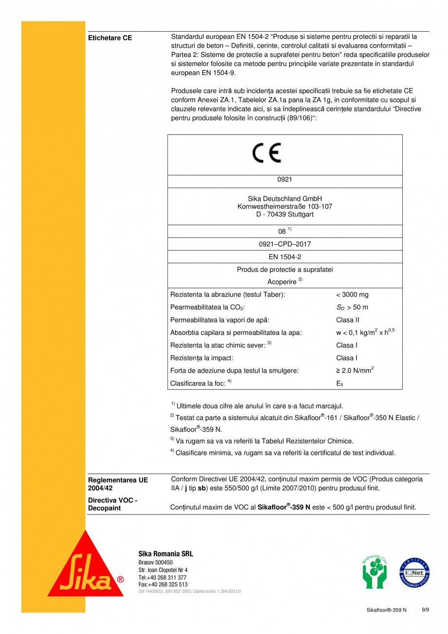 Pagina 9 - Strat de sigilare poliuretanic SIKA Sikafloor®-359 N Fisa tehnica Romana ie cu cel...