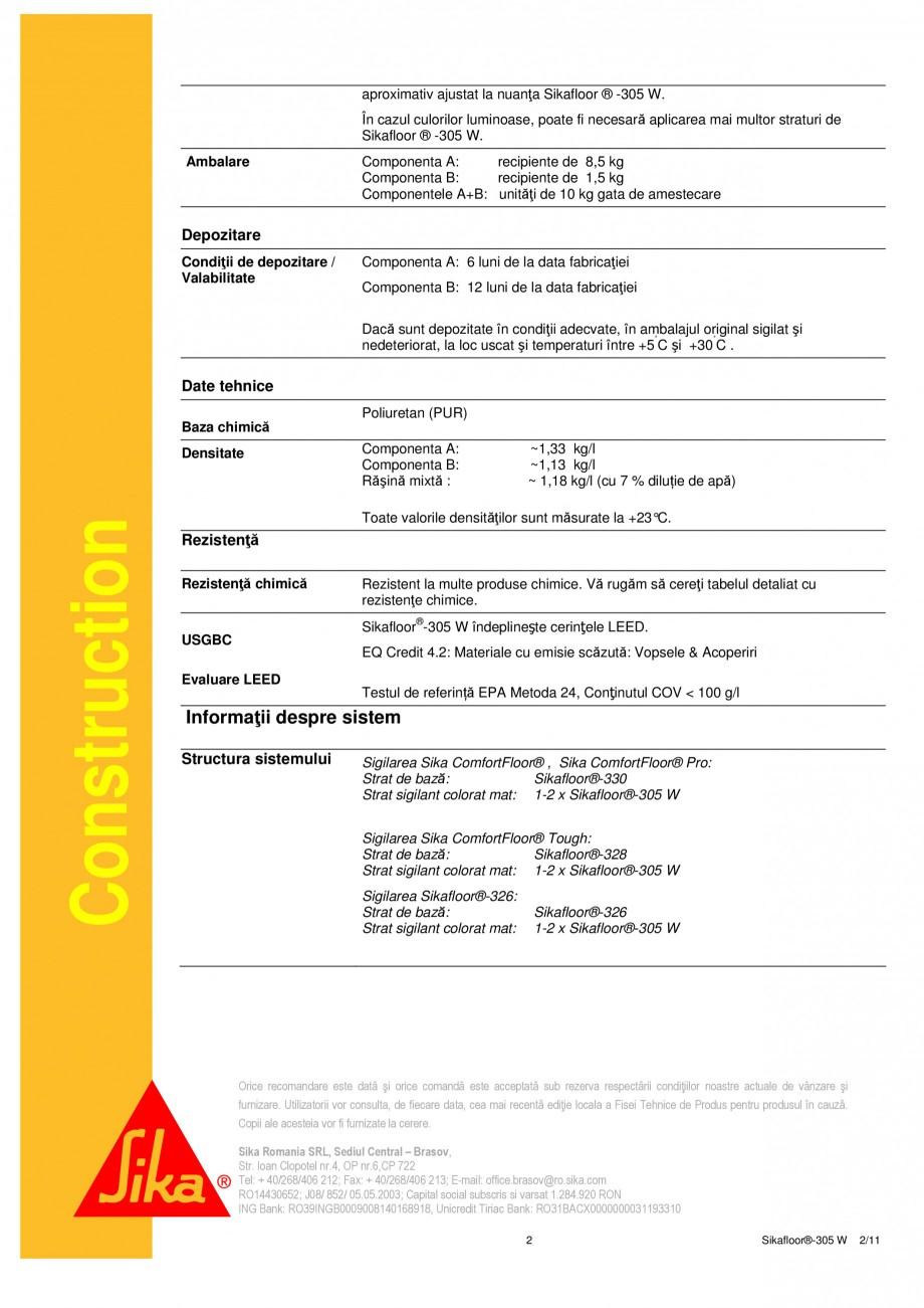 Pagina 2 - Strat sigilant poliuretanic SIKA Sikafloor®-305 W Fisa tehnica Romana e emisii în...