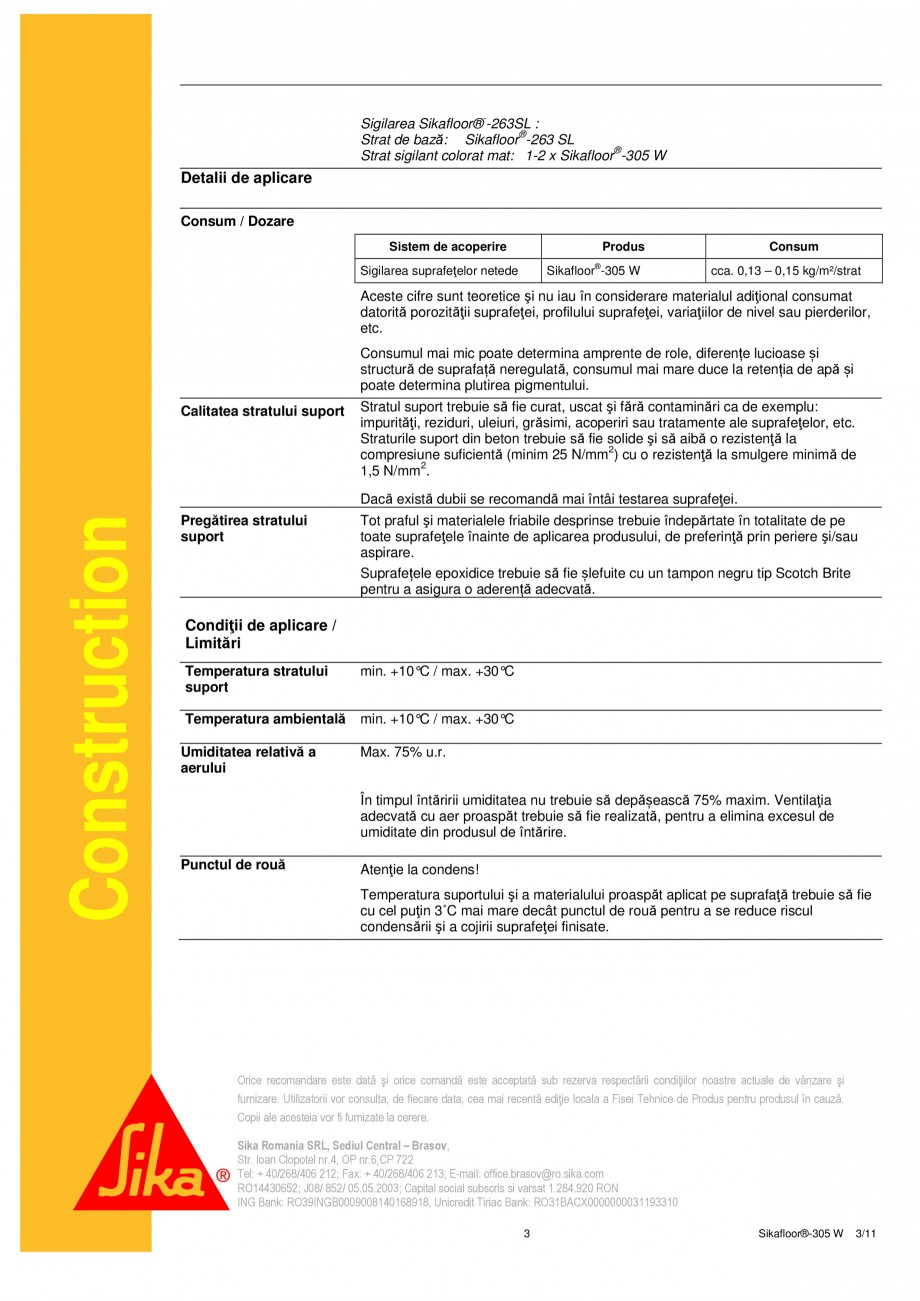 Pagina 3 - Strat sigilant poliuretanic SIKA Sikafloor®-305 W Fisa tehnica Romana tral – Brasov...