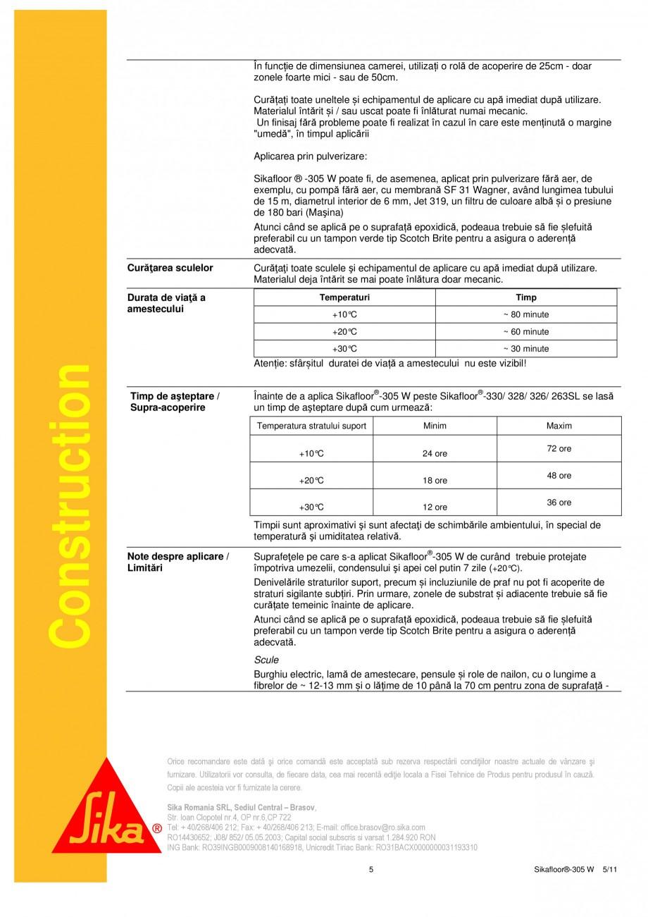 Pagina 5 - Strat sigilant poliuretanic SIKA Sikafloor®-305 W Fisa tehnica Romana ctării condi...
