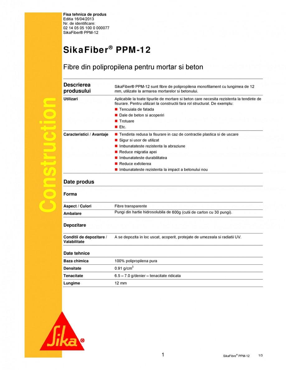 Pagina 1 - Fibre din polipropilena pentru mortar si beton SIKA SikaFiber® PPM-12 Fisa tehnica...