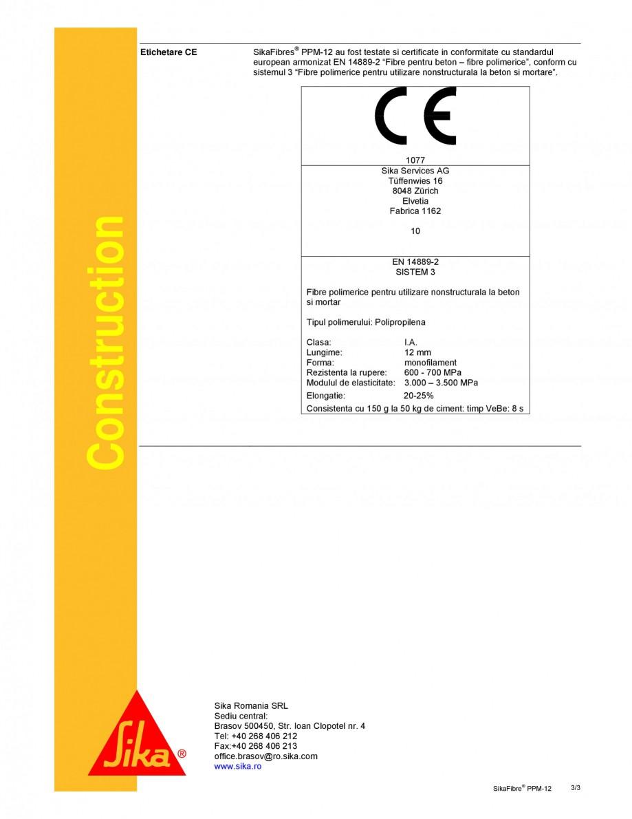 Pagina 3 - Fibre din polipropilena pentru mortar si beton SIKA SikaFiber® PPM-12 Fisa tehnica...