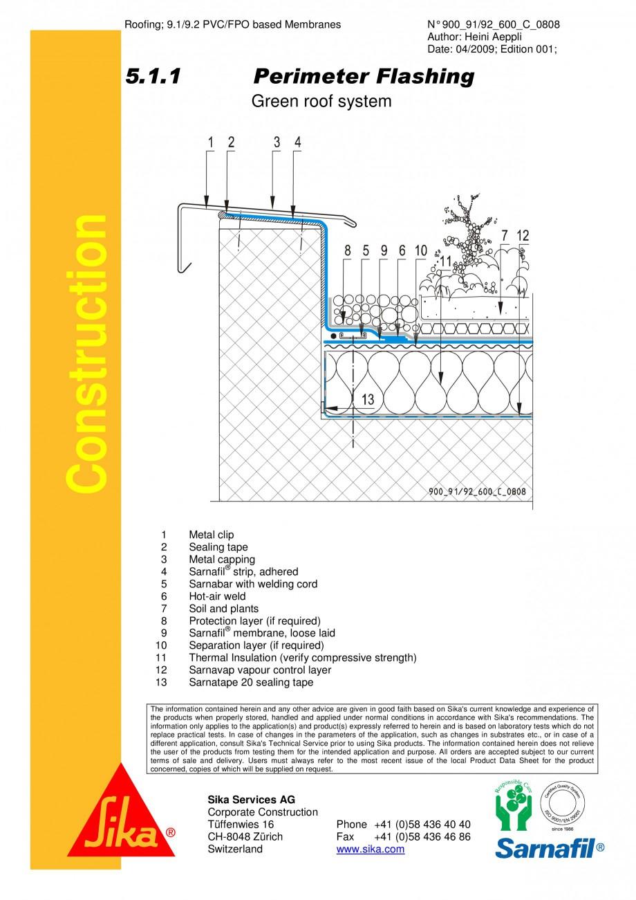 Pagina 1 - CAD-PDF Hidroizolatii acoperisuri verzi-detaliu de atic SIKA Detaliu de montaj...