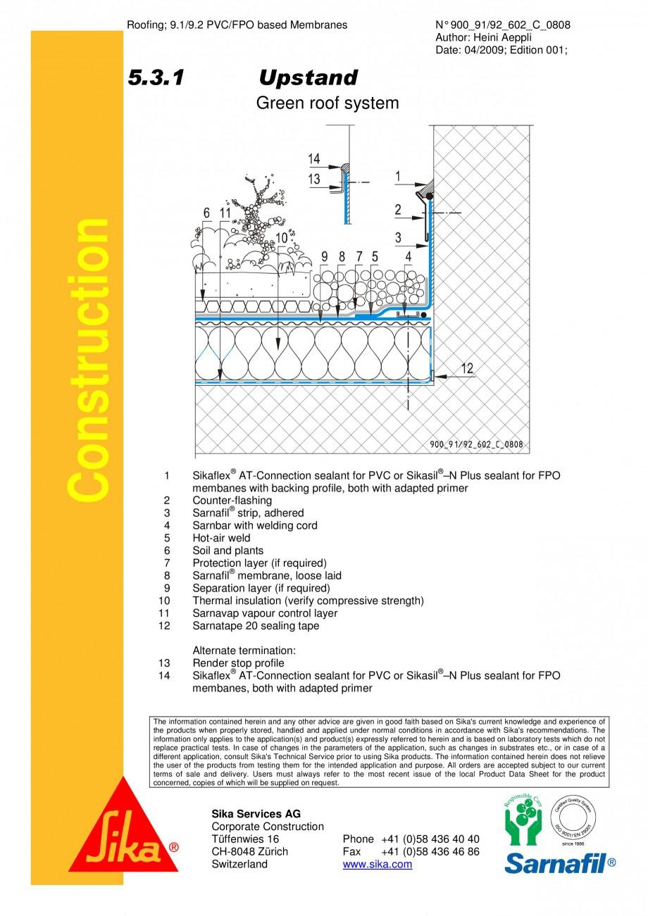 Pagina 1 - CAD-PDF Hidroizolatii acoperisuri verzi-detaliu de etansare SIKA Detaliu de montaj...