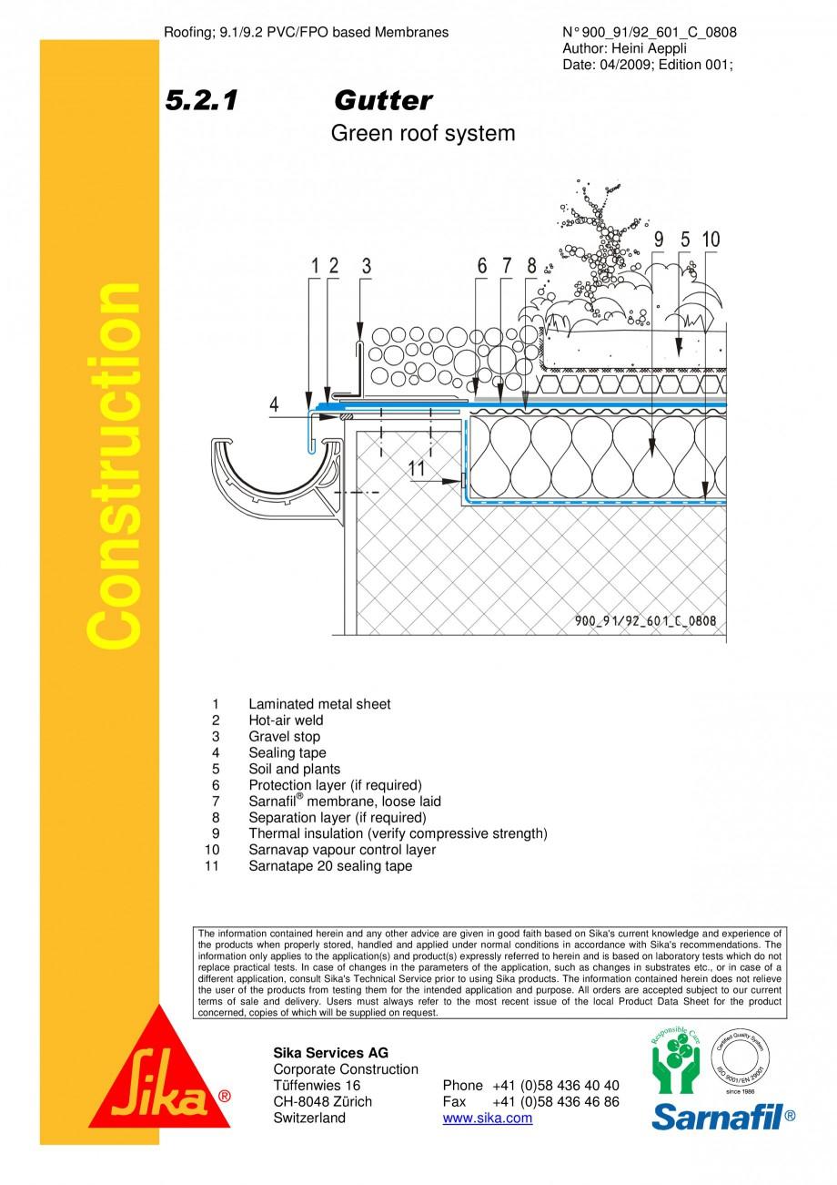 Pagina 1 - CAD-PDF Hidroizolatii acoperisuri verzi-detaliu de scurgere jgeab 2 SIKA Detaliu de...
