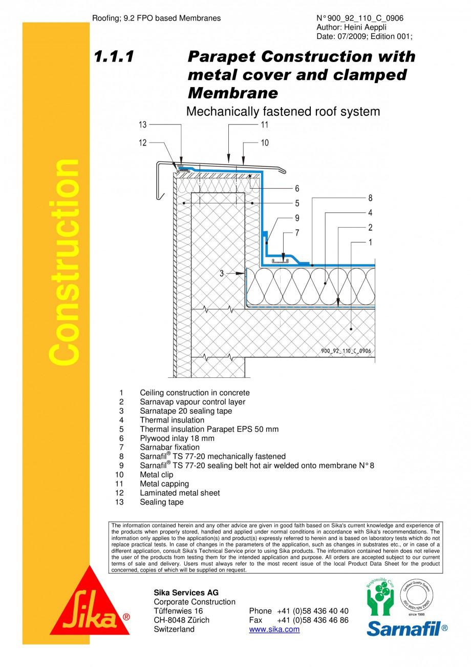 Pagina 1 - CAD-PDF Hidroizolatii cu prindere mecanica pentru terase necirculabile-detaliu de atic...