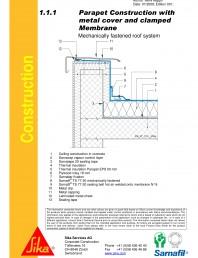 Hidroizolatii cu prindere mecanica pentru terase necirculabile-detaliu de atic