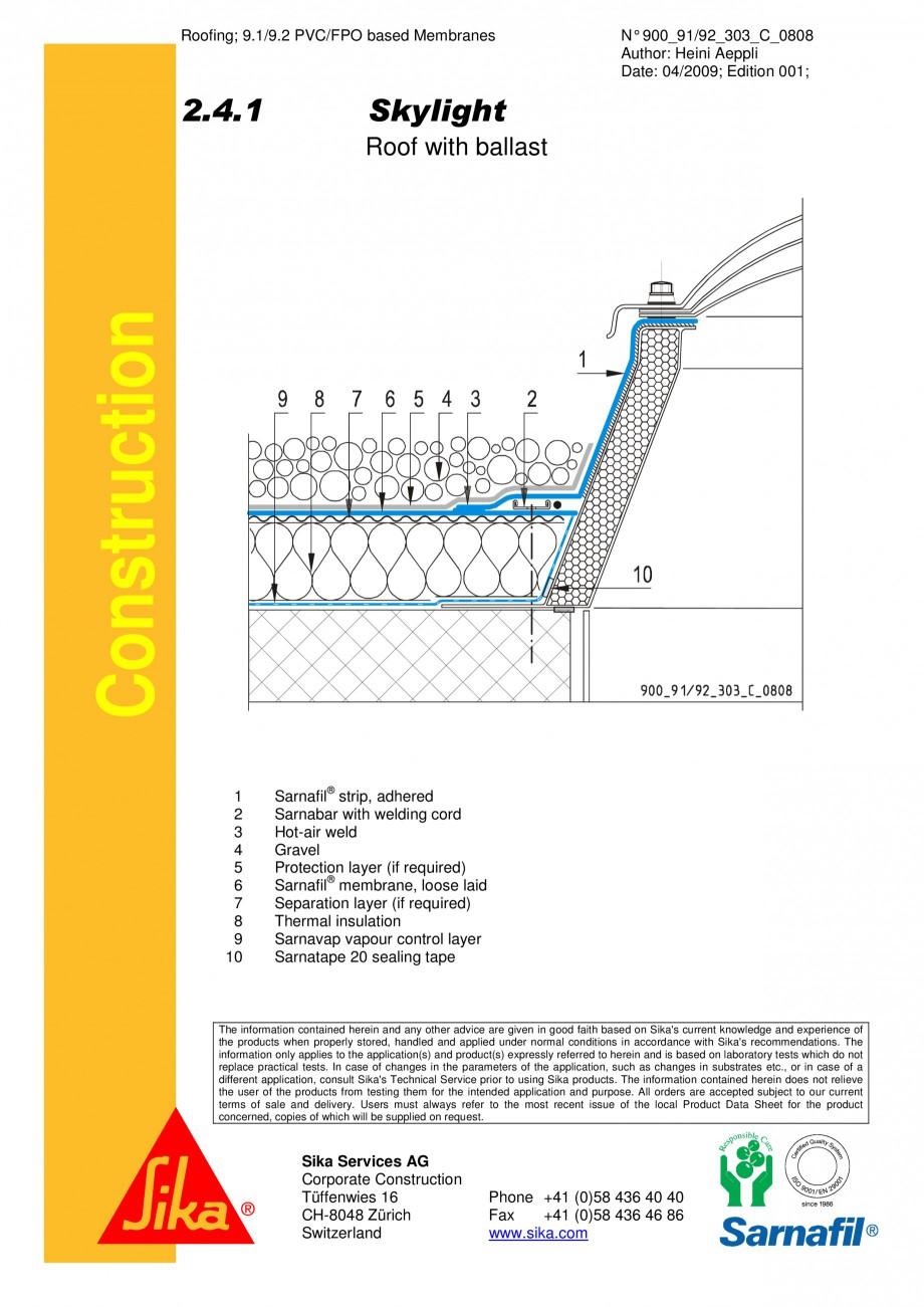 Pagina 1 - CAD-PDF Terasa recirculabila cu pietris-detaliu de racord la luminator SIKA Detaliu de...