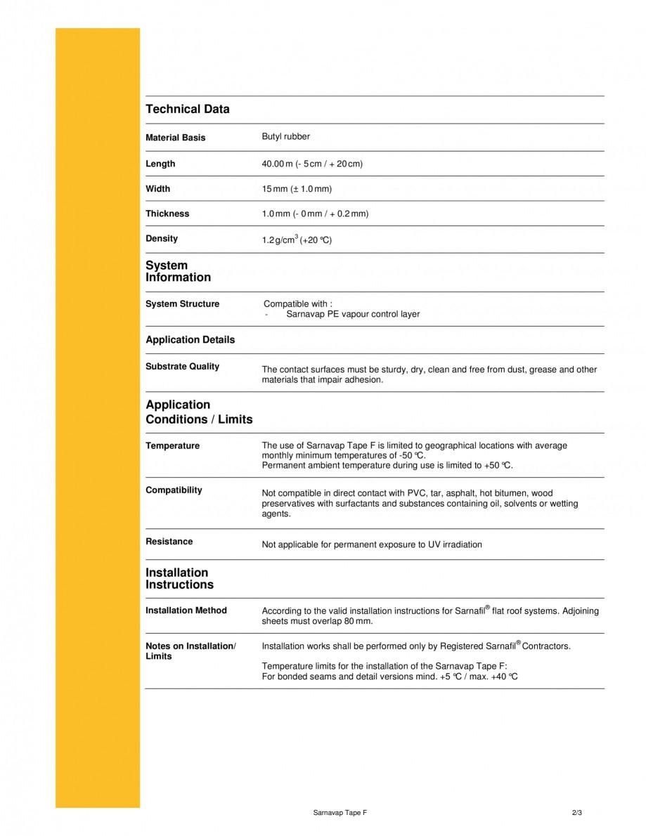 Pagina 2 - Banda dublu adeziva pentru lipirea stratului de control al vaporilor SIKA Sarnavap tape F...
