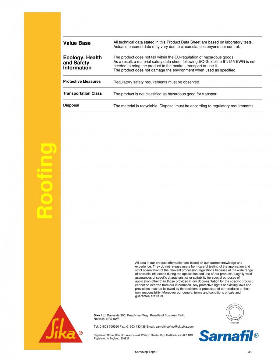 Pagina 3 - Banda dublu adeziva pentru lipirea stratului de control al vaporilor SIKA Sarnavap tape F...
