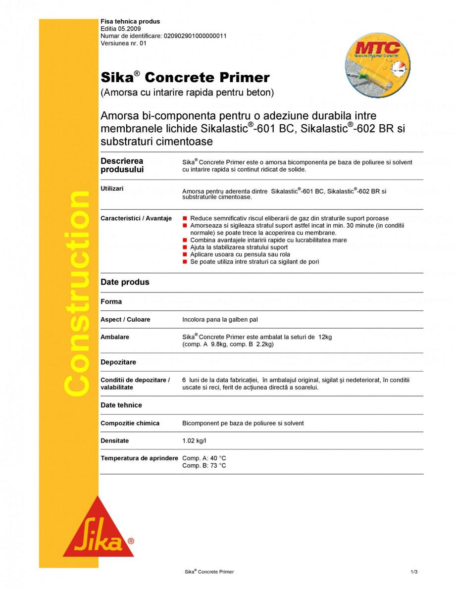 Pagina 1 - Amorsa pentru suporturi cimentoase SIKA Sika® Concrete Primer Fisa tehnica Romana...