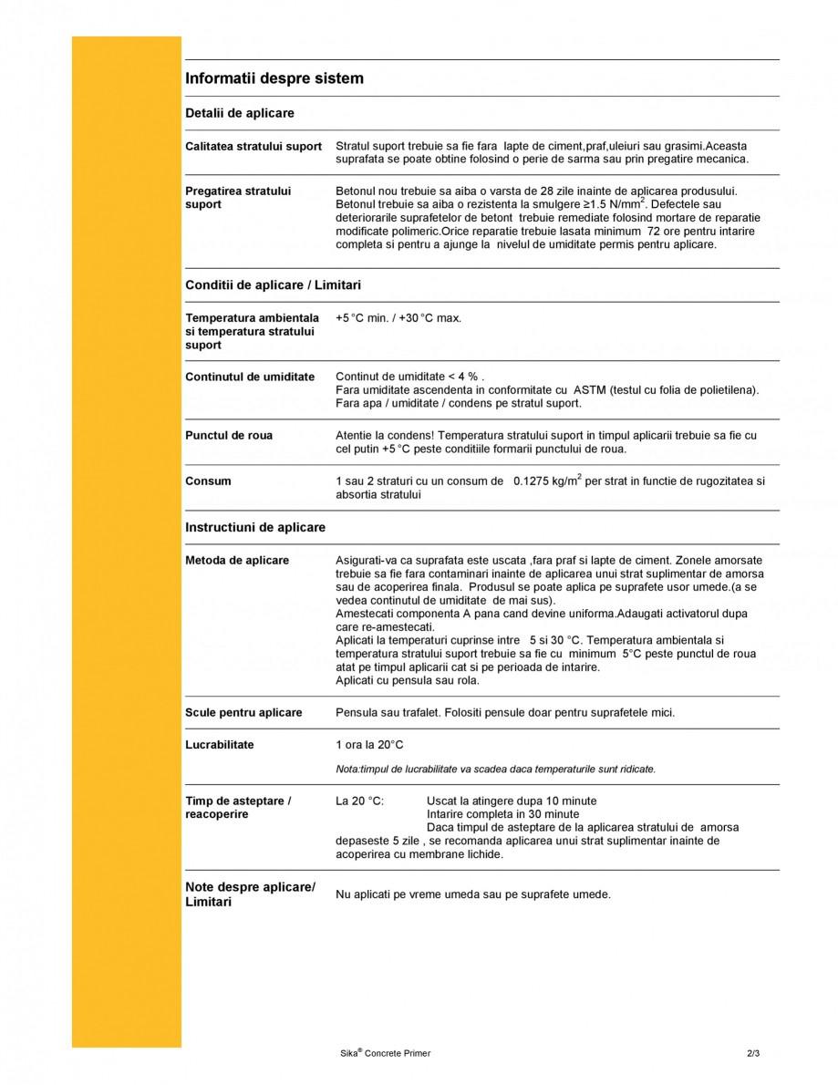 Pagina 2 - Amorsa pentru suporturi cimentoase SIKA Sika® Concrete Primer Fisa tehnica Romana  de...