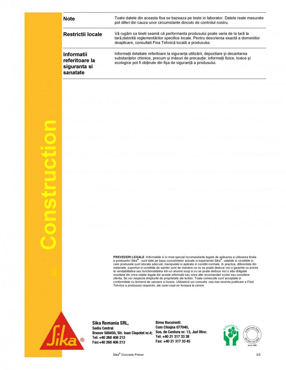 Pagina 3 - Amorsa pentru suporturi cimentoase SIKA Sika® Concrete Primer Fisa tehnica Romana e...