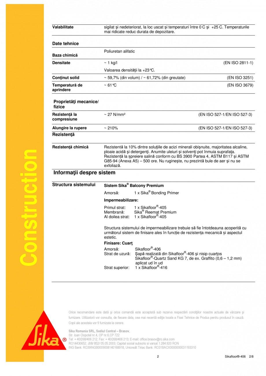 Pagina 2 - Liant din rasina poliuretanica PUR SIKA Sikafloor®-406 Fisa tehnica Romana i Ambalare...