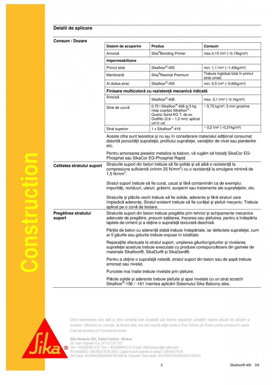 Pagina 3 - Liant din rasina poliuretanica PUR SIKA Sikafloor®-406 Fisa tehnica Romana c durata...