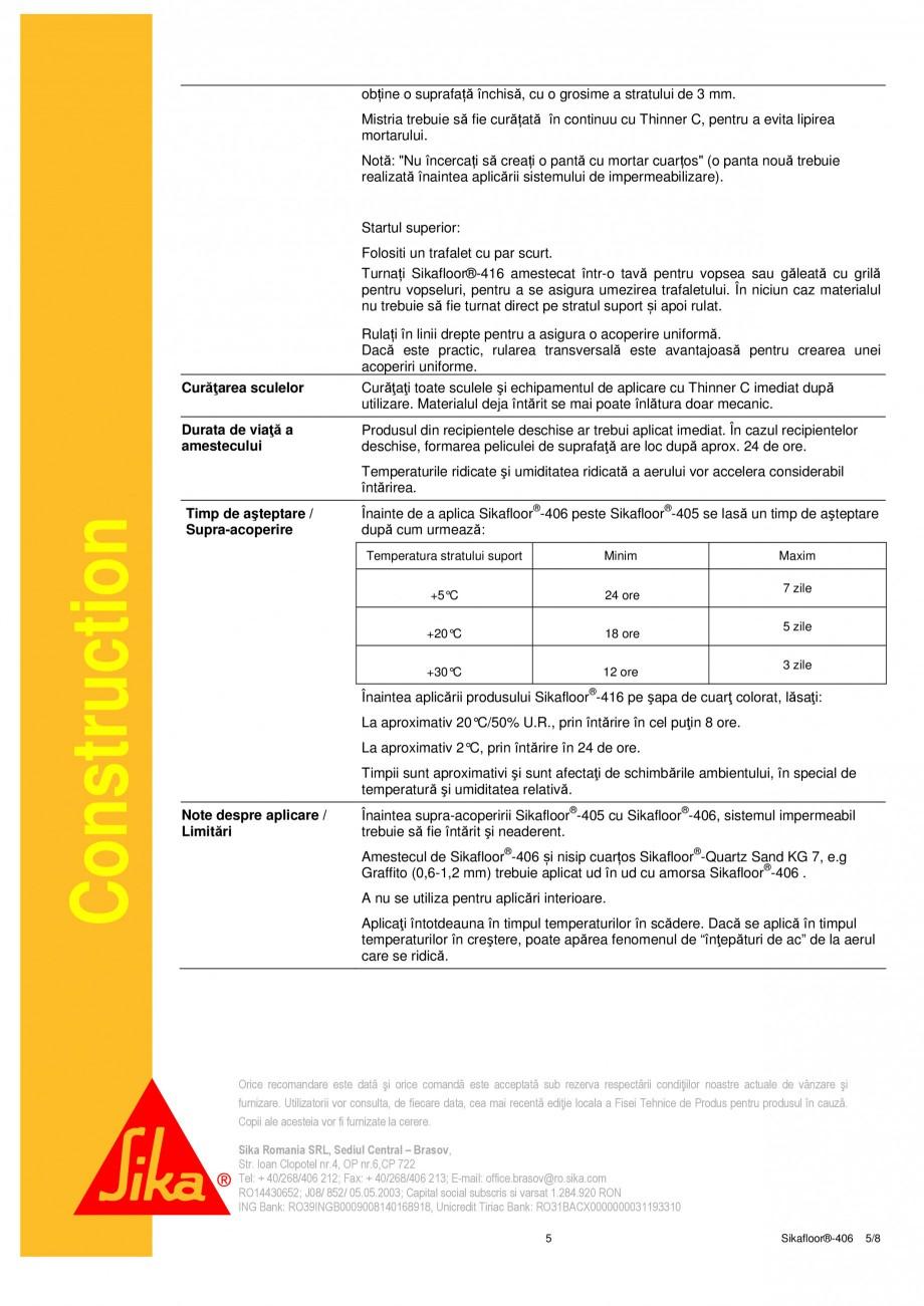 Pagina 5 - Liant din rasina poliuretanica PUR SIKA Sikafloor®-406 Fisa tehnica Romana  05.05...