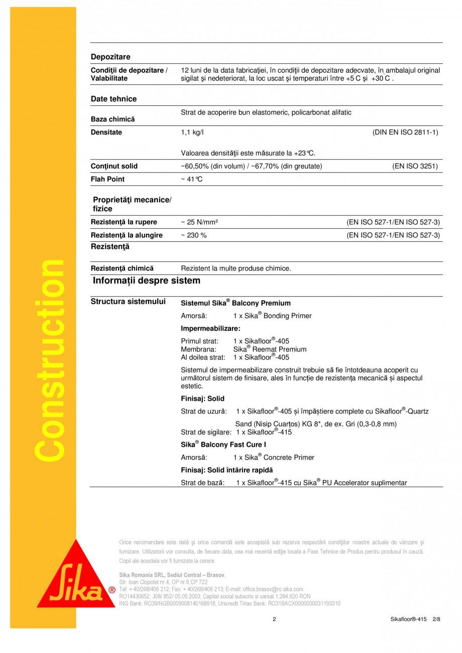 Pagina 2 - Strat de acoperire si sigilare SIKA Sikafloor®-415 Fisa tehnica Romana �lbenește...