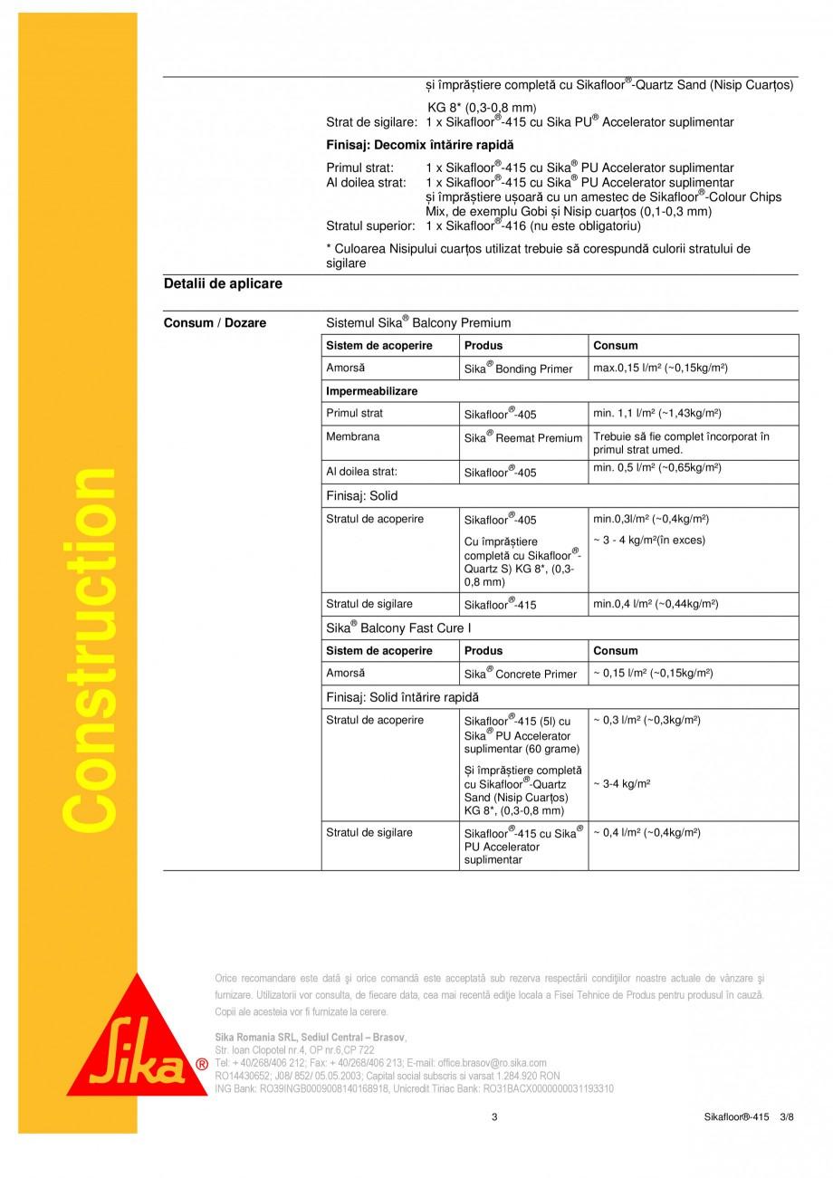 Pagina 3 - Strat de acoperire si sigilare SIKA Sikafloor®-415 Fisa tehnica Romana 284.920 RON...