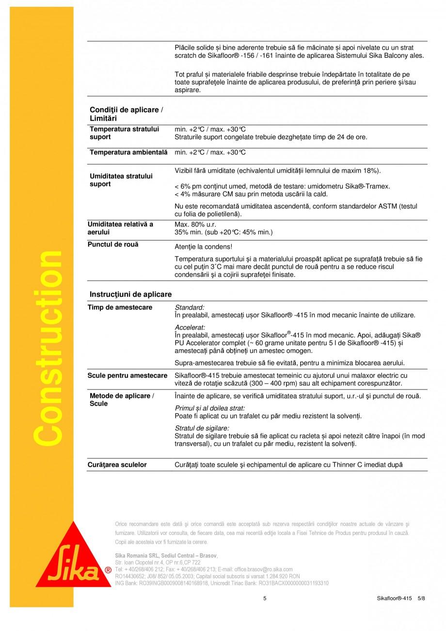 Pagina 5 - Strat de acoperire si sigilare SIKA Sikafloor®-415 Fisa tehnica Romana RL, Sediul...