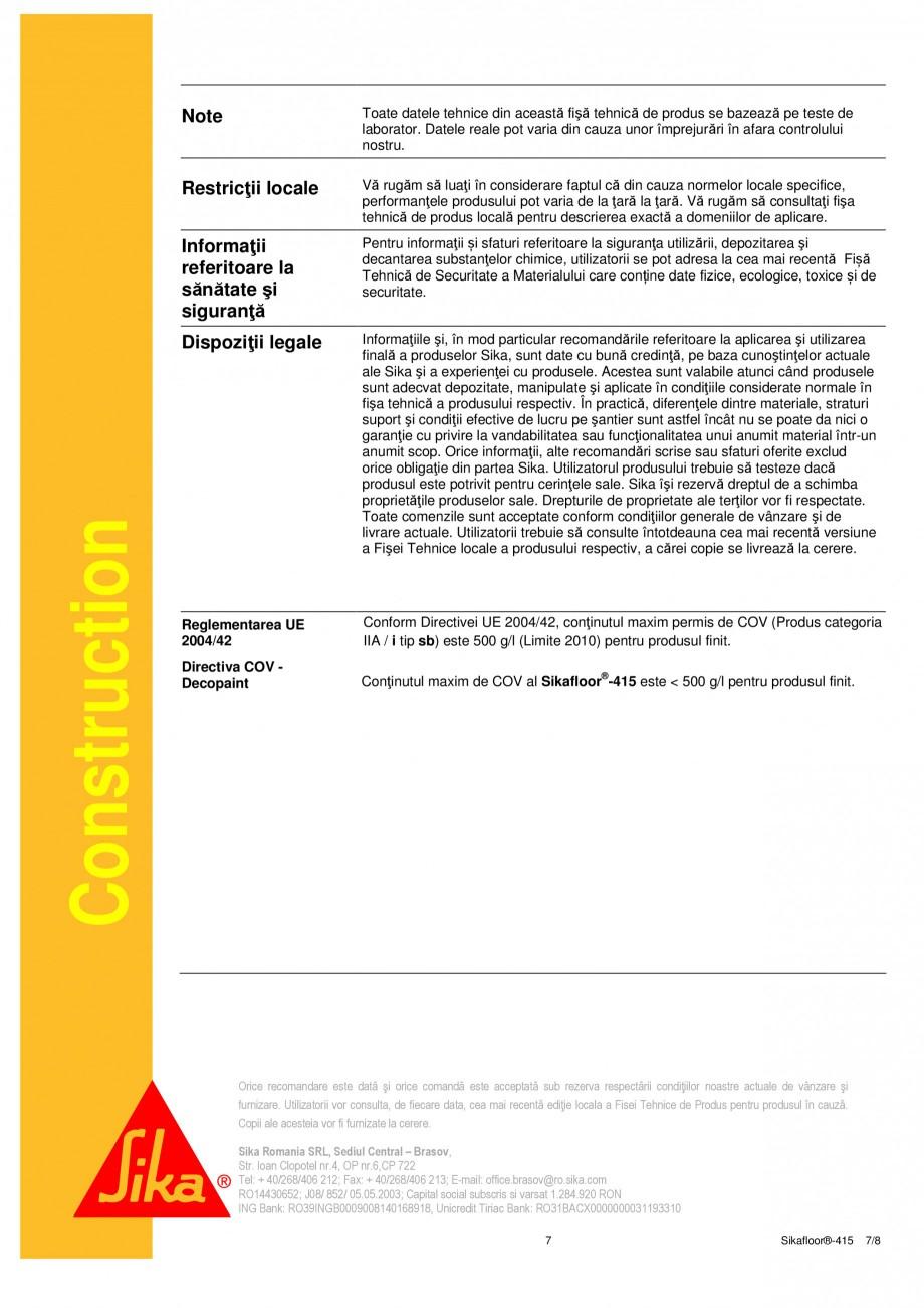 Pagina 7 - Strat de acoperire si sigilare SIKA Sikafloor®-415 Fisa tehnica Romana 0,8 mm) ...